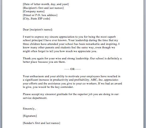 appreciation letter template appreciation letter sle template resume builder
