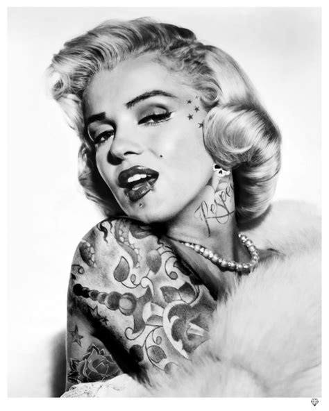 marilyn monroe with tattoos poster marilyn black white by jj rennies gallery