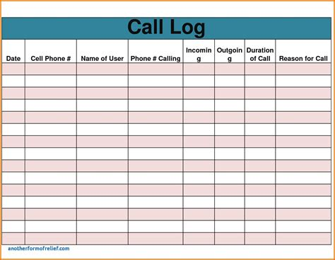 call log report template sales call report template unique call log template excel