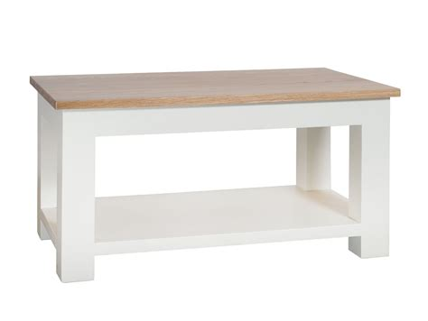 so painted oak top coffee table with shelf