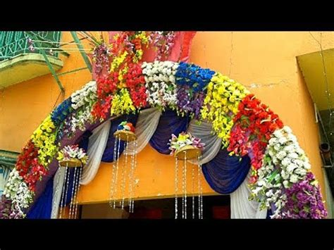 gate decoration artificial colourful flowers