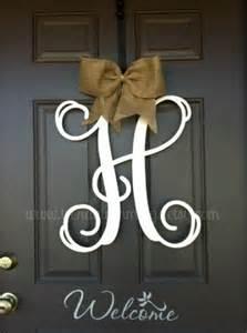 Monogram Letters For Front Door 20 Quot Monogram Letter Interlocking Script Initial Wooden Monogram For Your Front Door Home