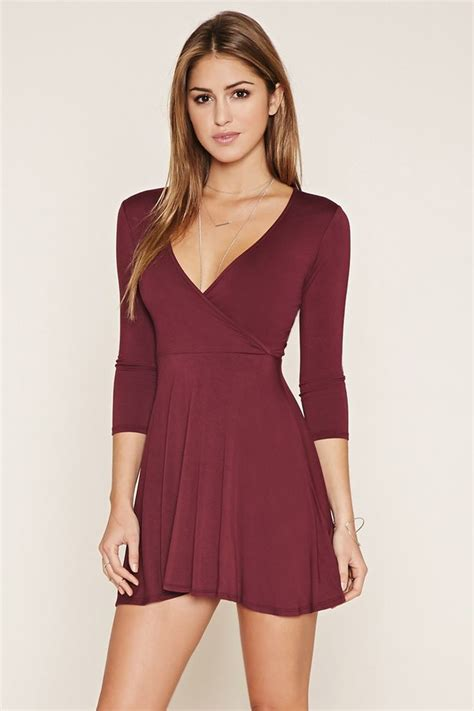 Dress Mini 311 surplice skater dress f21 21st clothes and clothing