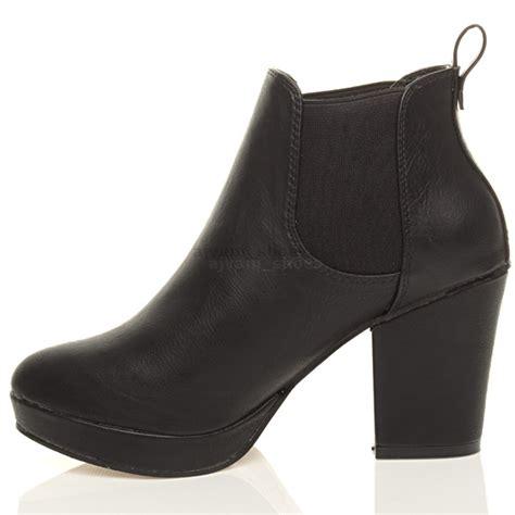 womens high heel block platform ankle low chelsea
