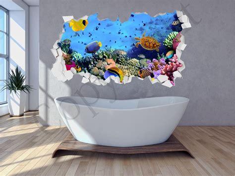 aquarium wall stickers sea aquarium water brick crumbled wall 3d wall