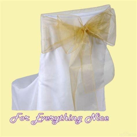 gold organza wedding chair sash ribbon decorations x 100
