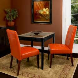 Orange Dining Room Chairs Highland Burnt Orange Leather Dining Chair Set Of 2