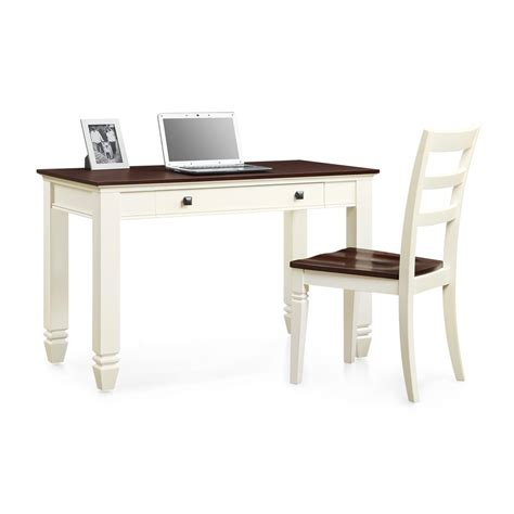 Whalen Furniture White And Cherry Writing Desk Chair Set White Desk And Chair Set