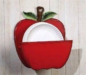 country kitchen red apple paper plate holder home decor racks holders