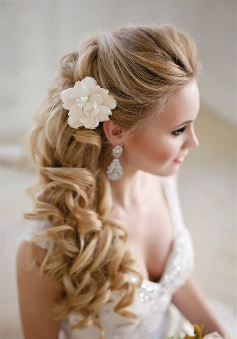 Wedding Hairstyles To The Side With Flower by Side Swept Wedding Hairstyles To Inspire Wedding Unique