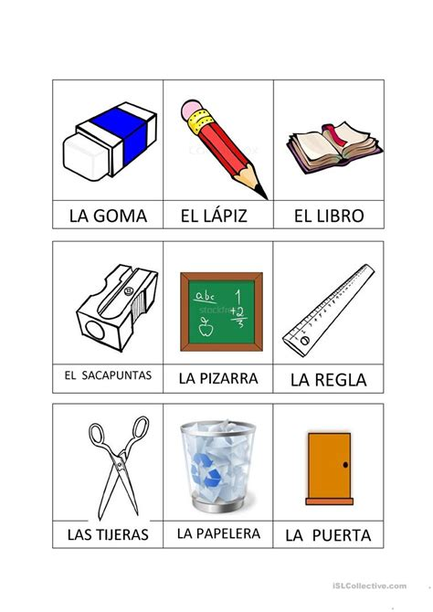 imagenes en ingles de utiles escolares utiles escolares trabajos hojas de trabajo de ele gratuitas