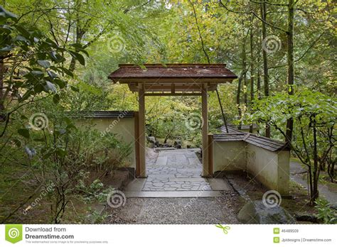 House Plans With Pool Courtyard entryway at japanese garden in autumn season stock image