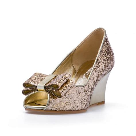 Gold Bridal Wedges by Gold Glitter Wedges Wedding Shoes Gold Glitter