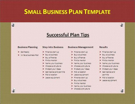 entrepreneur business plan template small business plan template marketing