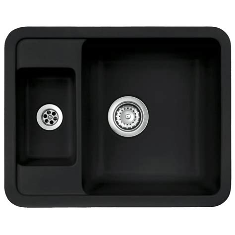 Black Ceramic Kitchen Sinks Astracast Vero 1 5 Bowl Black Ceramic Undermount Kitchen Sink Waste Ebay
