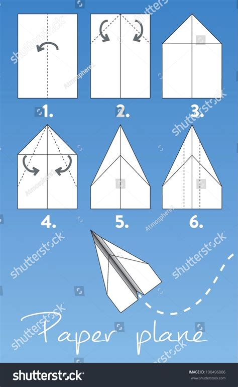 Steps To A Paper Airplane - make origami paper airplane 6 stock vector