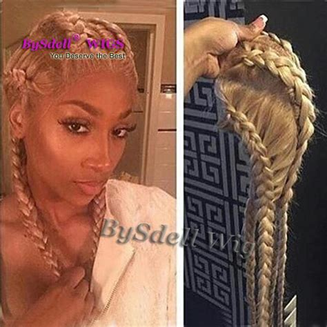 glue in french braids nigeria braids style full lace wig synthetic 4 box braids