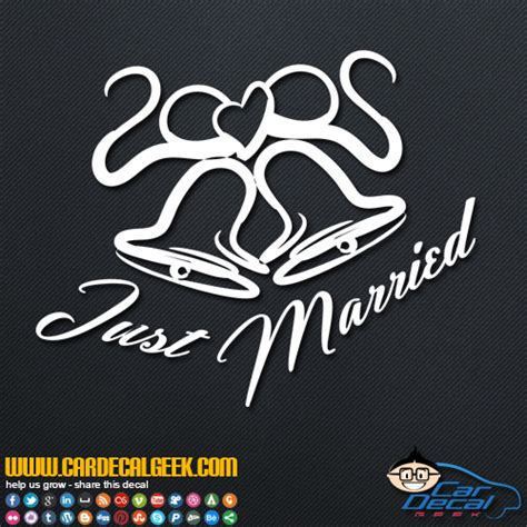 married wedding bells vinyl car window decal sticker