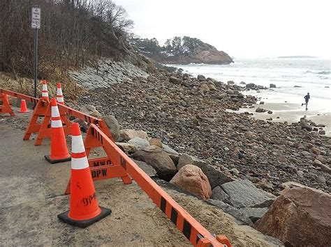north shores singing beach hit hard  march storm cbs
