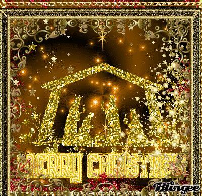 merry christmas glitter nativity picture  blingeecom