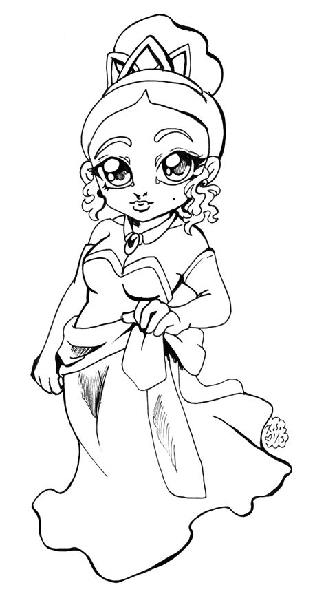 coloring pages of chibi disney princesses disney princess tiana chibi bw by bastett on deviantart
