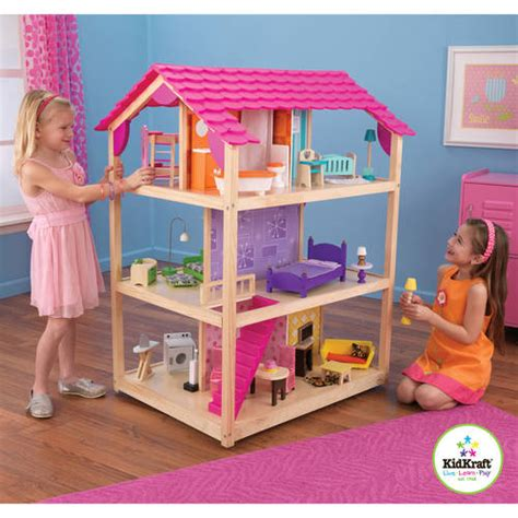 walmart doll houses kidkraft so chic dollhouse with furniture walmart com
