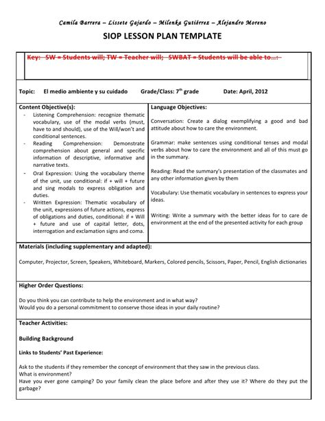 siop lesson plan template 1 siop unit lesson plan template sei model