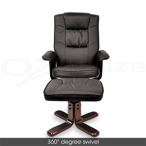 wood arm recliner chair pu leather wood arm lounge chair recliner ottoman office