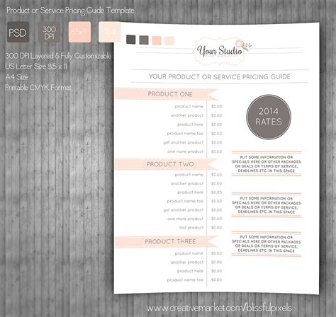 pricing guide template stationery templates creative