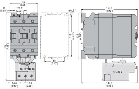 three pole contactor iec operating current ie ac3 95a