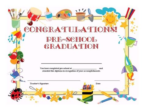 Preschool Graduation Certificate Template Free free printable pre school graduation certificate free printables resources pre kinder 1st