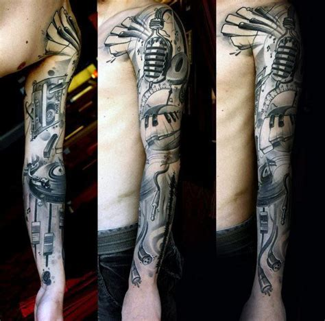 shaded sleeve tattoos for men 60 sleeve tattoos for lyrical ink design ideas