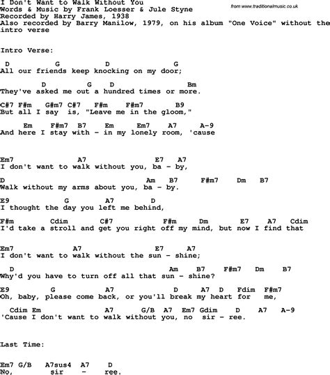 song lyrics with guitar chords for i don t want to walk