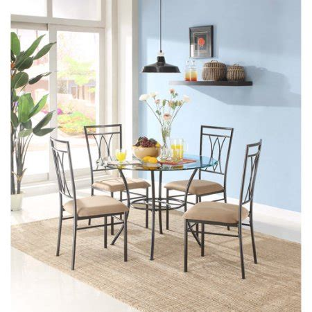 Glass And Metal Dining Room Sets by Mainstays Metal And Glass 5 Dining Set Walmart