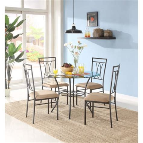 Walmart Dining Room Sets Mainstays Metal And Glass 5 Piece Dining Set Walmart Com