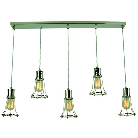 Industrial Style Island Lighting Bar Kitchen Pendant Light With 5 Nickel Cage Hanging Light