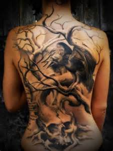 tree bird and skull tattoo on back tattooshunt com