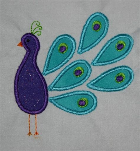peacock applique peacock applique machine embroidery design instant