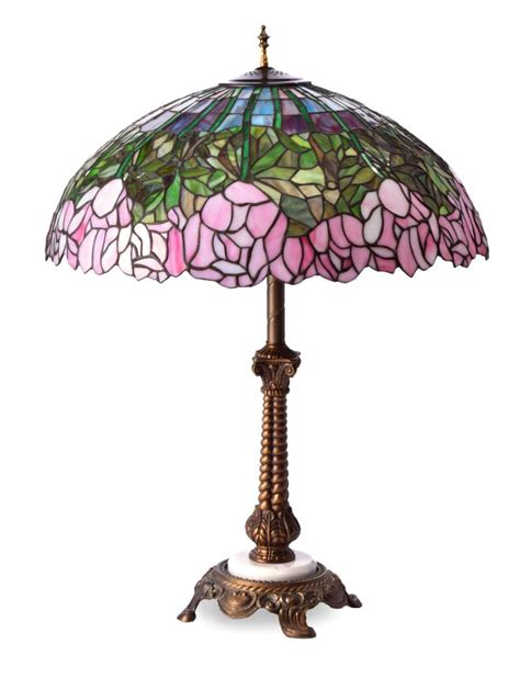 slag glass l shade lamp with leaded slag glass shade