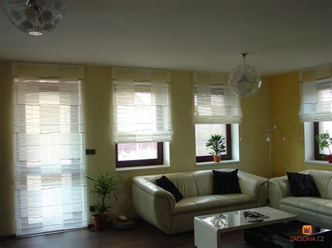 vorhänge modern wohnzimmer raffrollo beige weiss blockstreifen