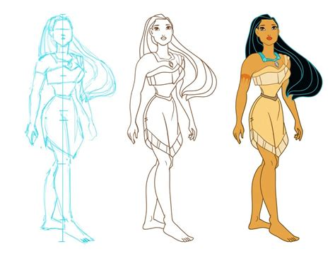 doodle draw style zita varga pocahontas in different styles