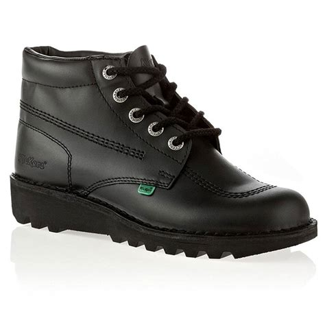 kickers boot black leather kickers kick hi womens black leather lace up boot