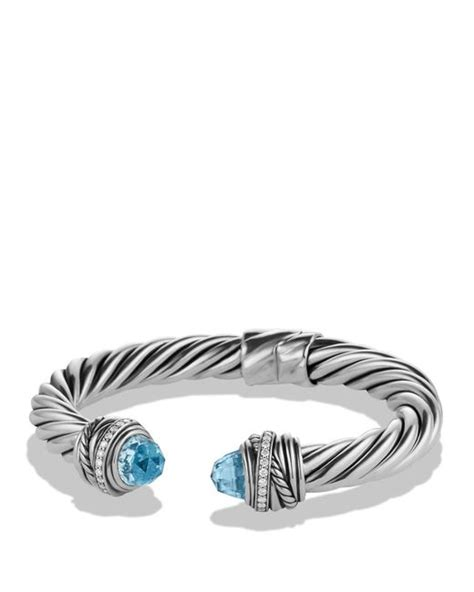 david yurman crossover bracelet with blue topaz diamonds