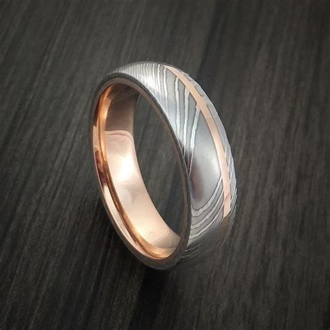 Steel Wedding Band by Damascus Steel 14k Gold Ring Wedding Band Custom Made