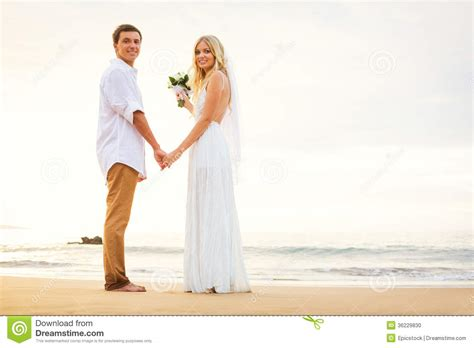 Just For Couples Just Married Holding On The Stock Photo
