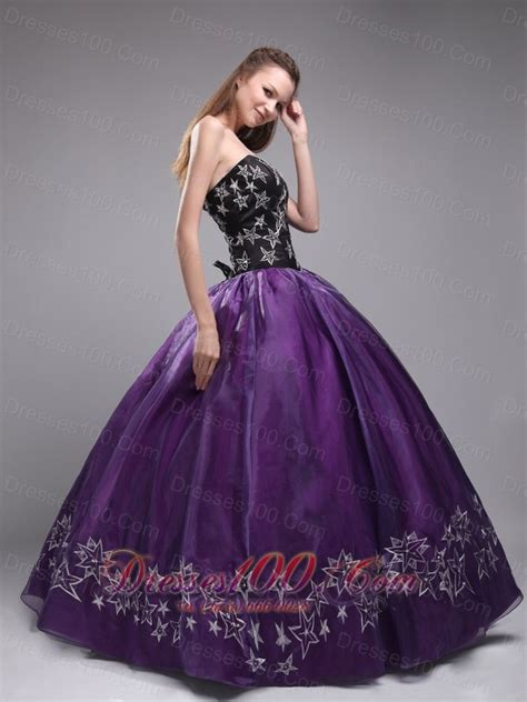 Dress Sweet Two Color Mix Import Premium Quality purple and black sweet 16 dress embroidery most popular quinceanera gowns