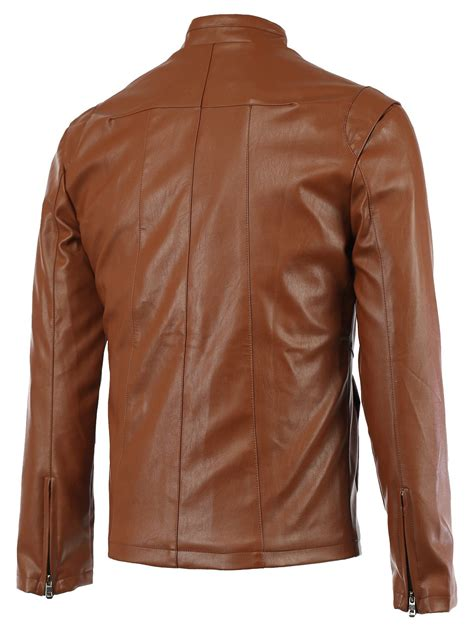 Stand Collar Faux Leather Jacket 2018 zipper sleeve seamed stand collar s faux leather