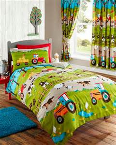 Kids Bedding Sets Farm Animals Tractor Kids Duvet Cover Or Matching Curtains