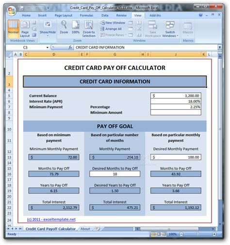 Microsoft Excel Credit Card Template Credit Card Payoff Calculator