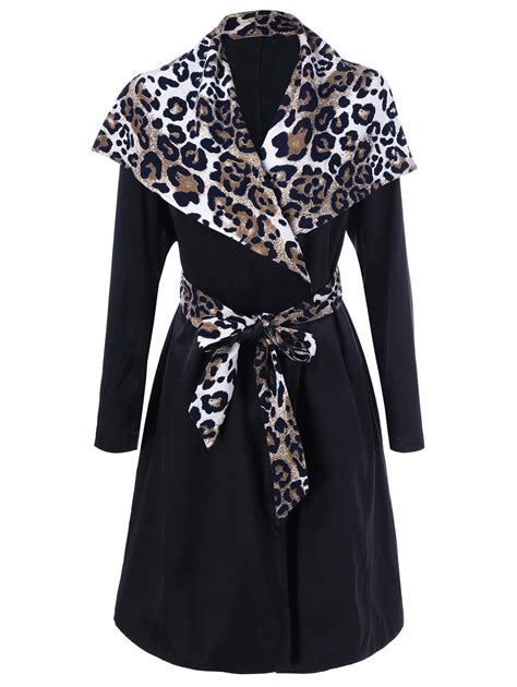 Found A Saucy Leopard Trench Coat by Cheetah Trim Waterfall Trench Coat In Leopard M